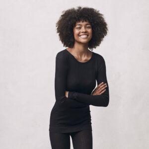 Seamless Basic | Alma Recycled Silk Blouse - Black