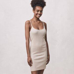 Seamless Basic   Elena Recycled Silk Slip dress - Rosie Beige