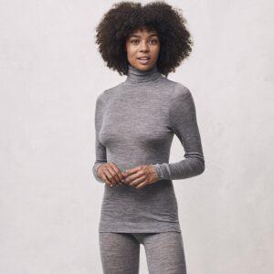 Seamless Basic | Lola Merino Wool Roll Neck - Grey Melange