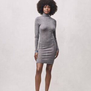 Seamless Basic   Marisol Merino Wool Dress - Grey Melange