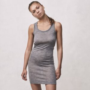 Seamless Basic | Rosa Merino Wool Slip Dress - Grey Melange